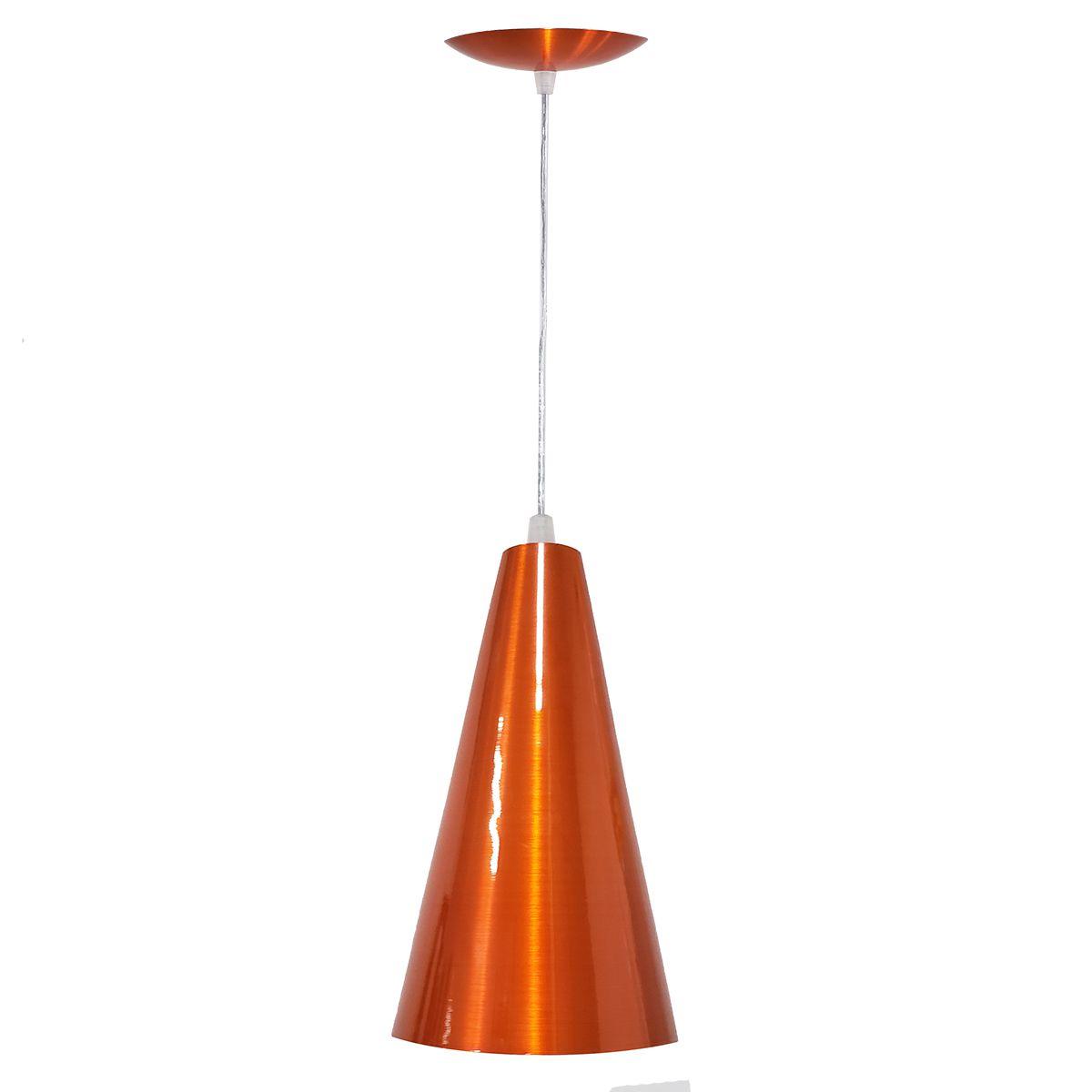 Luminária Decorativa Cônico 24 Laranja Cobreado com Pendente