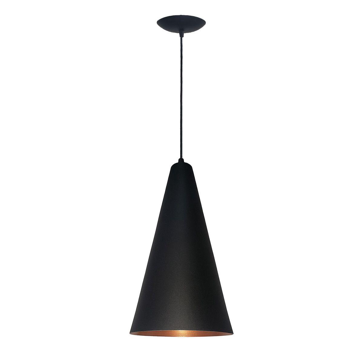Luminária Decorativa Cônico 24 Preto/Cobre com Pendente