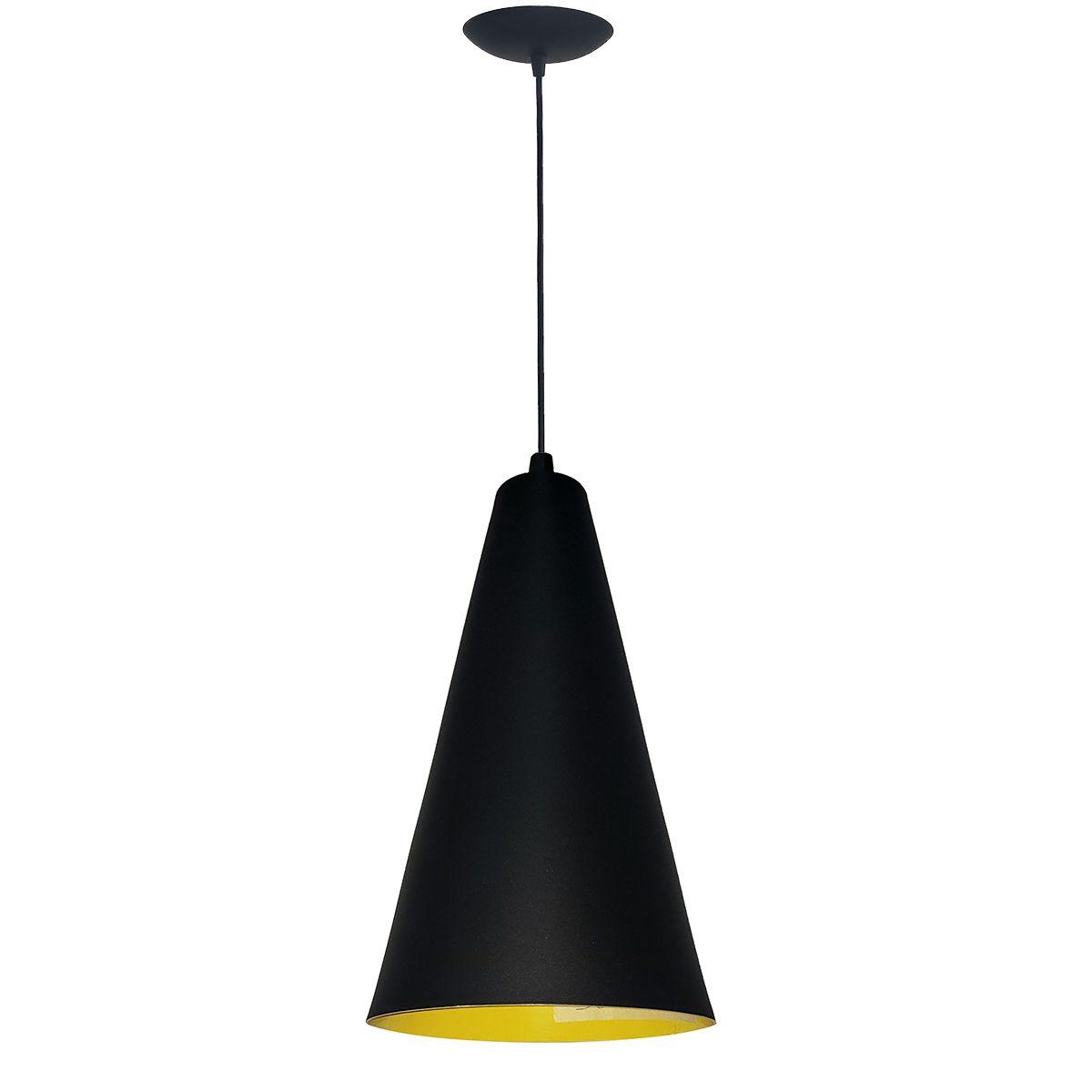Luminária Decorativa Cônico 29 Preto/Amarelo com Pendente