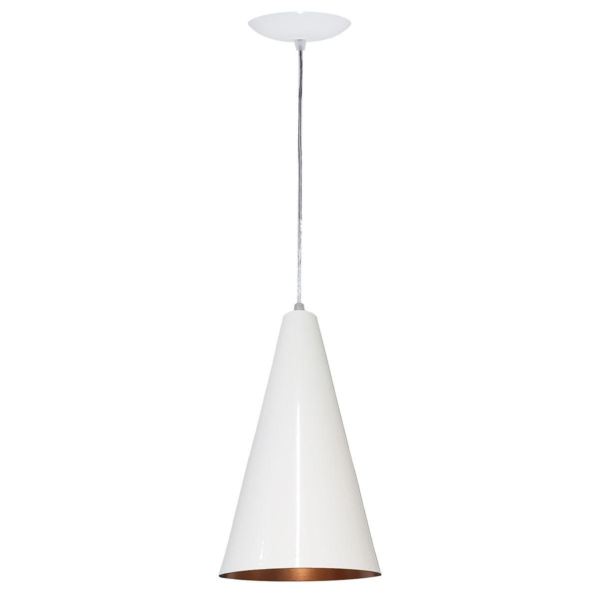Luminária Decorativa Cônico Mini Branco/Cobre com Pendente