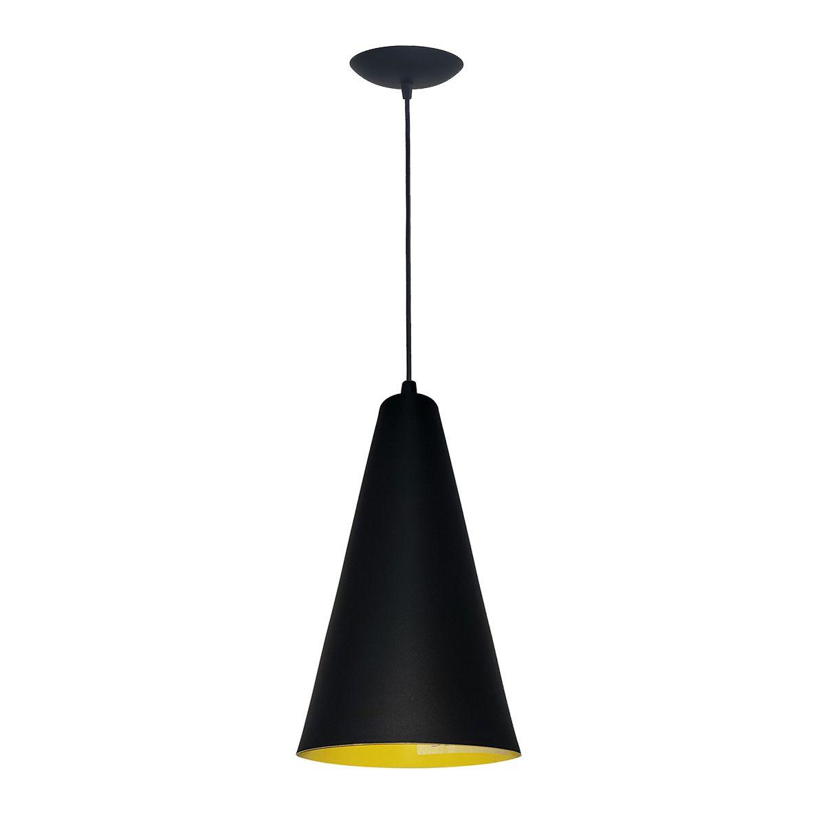Luminária Decorativa Cônico Mini Preto/Amarelo com Pendente