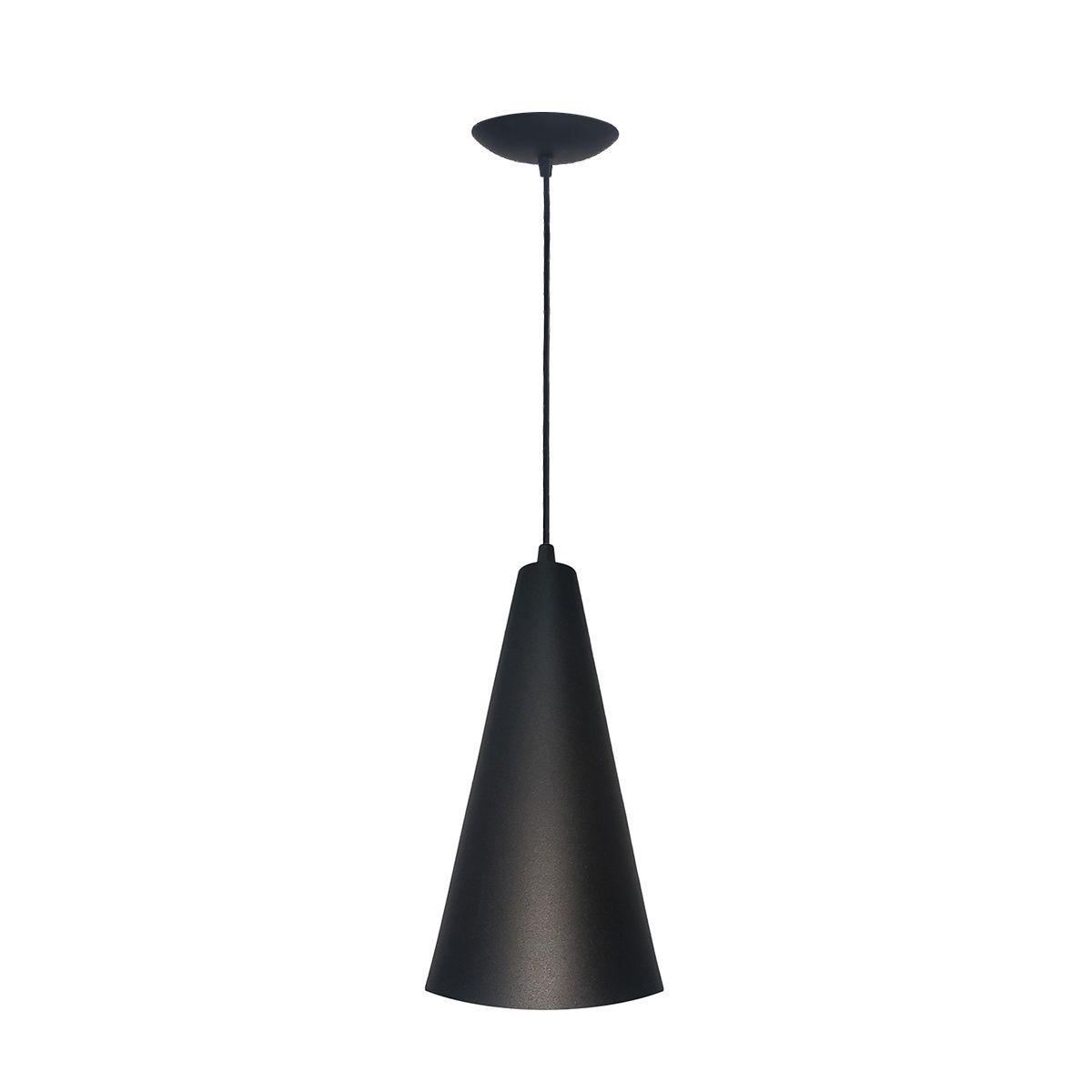 Luminária Decorativa Cônico Mini Preto/Cobre com Pendente