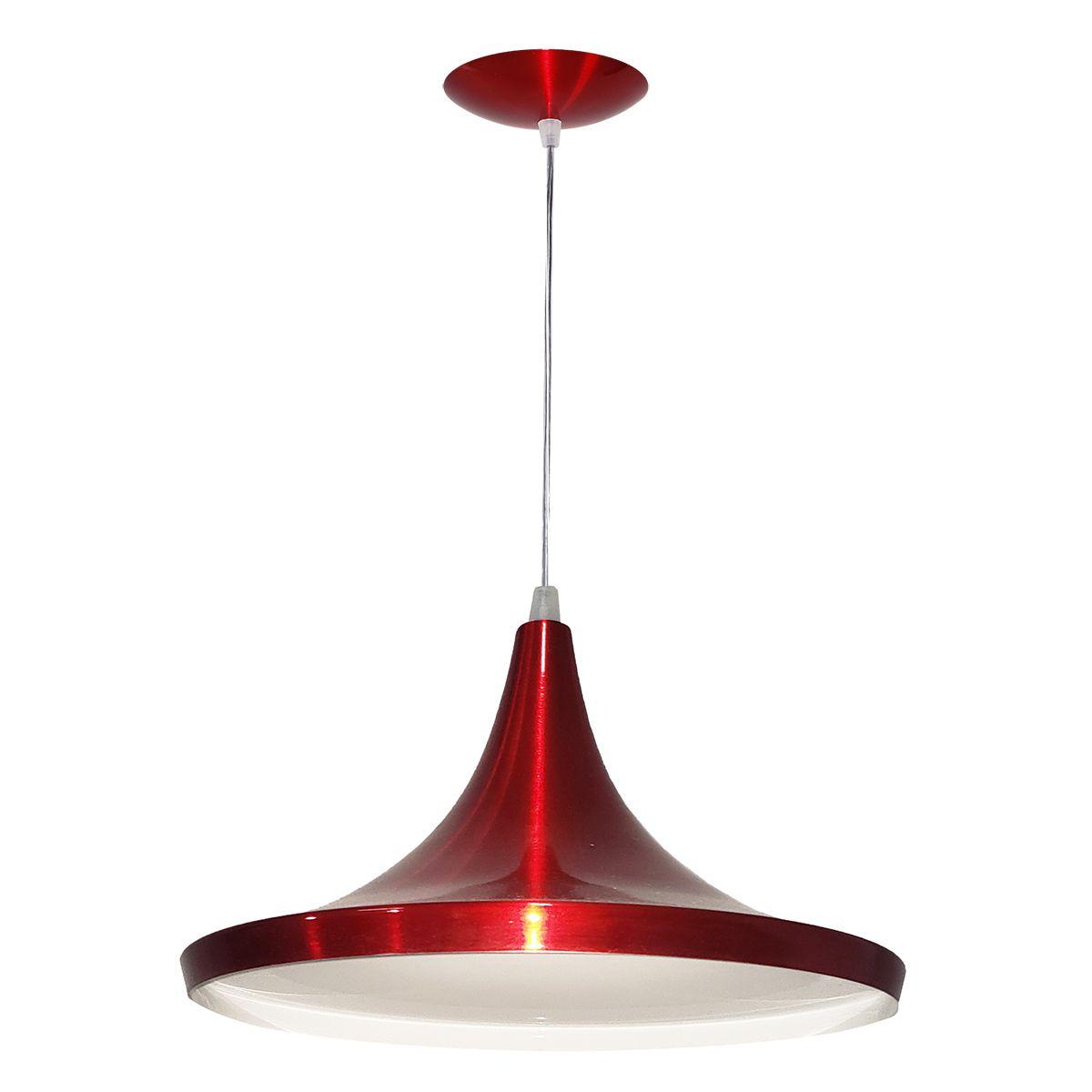 Luminária Decorativa Cônico Mini Vermelho Cereja Pendente