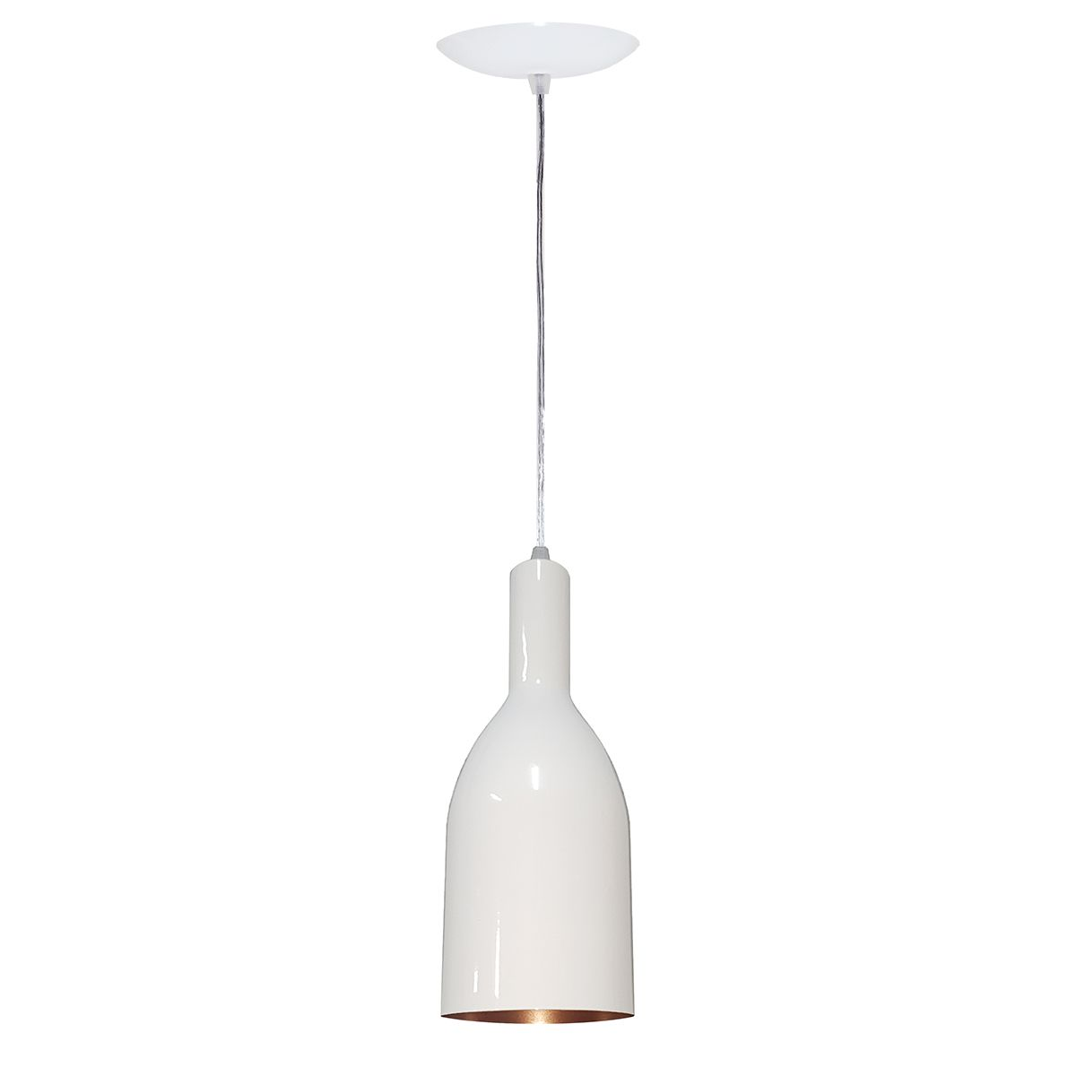 Luminária Decorativa Garrafa Branco/Cobre com Pendente