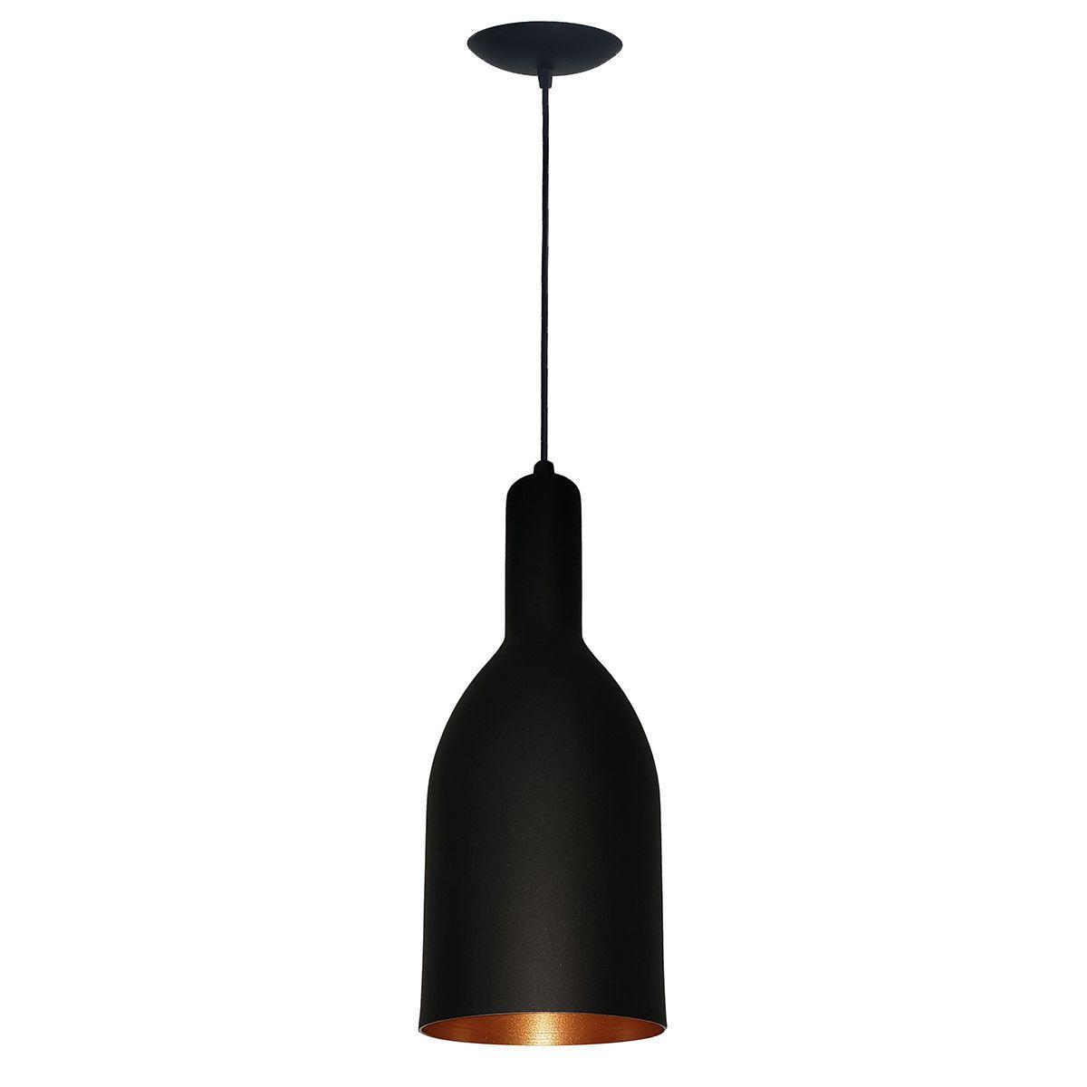 Luminária Decorativa Garrafa Preto/Cobre com Pendente