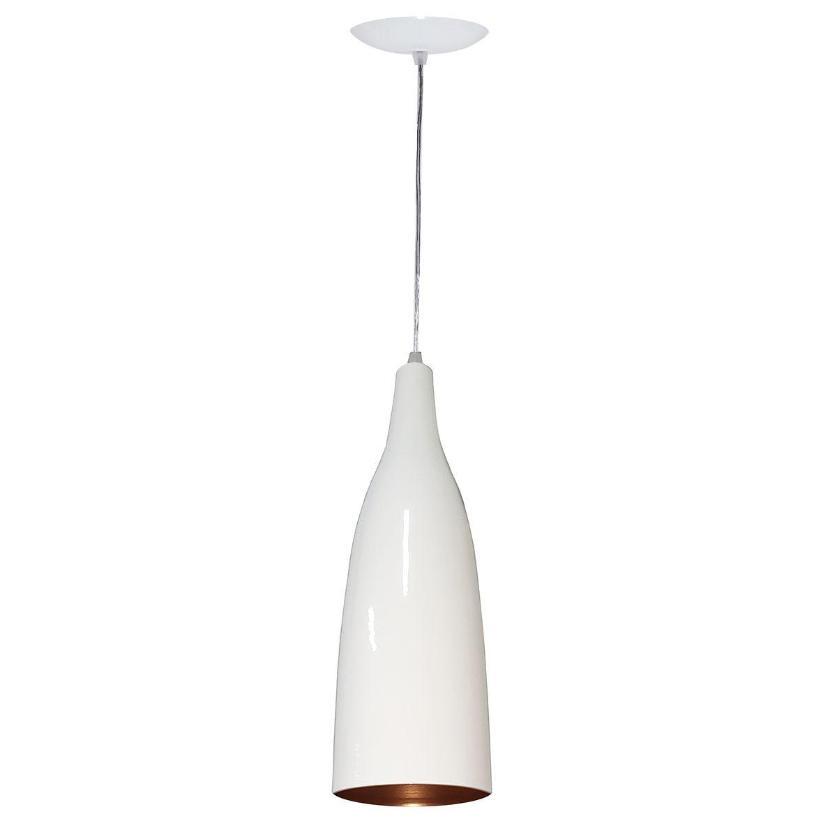 Luminária Decorativa Garrafão Branco/Cobre com Pendente