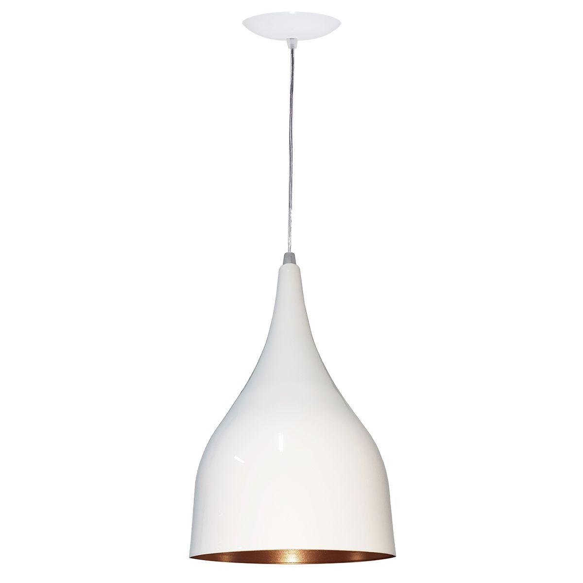 Luminária Decorativa Gota Branco/Cobre com Pendente