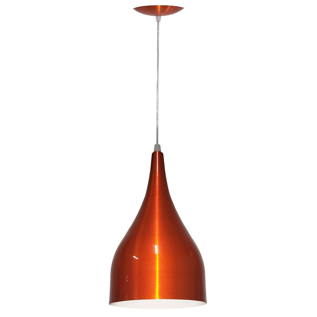 Luminária Decorativa Gota Laranja Cobreado com Pendente