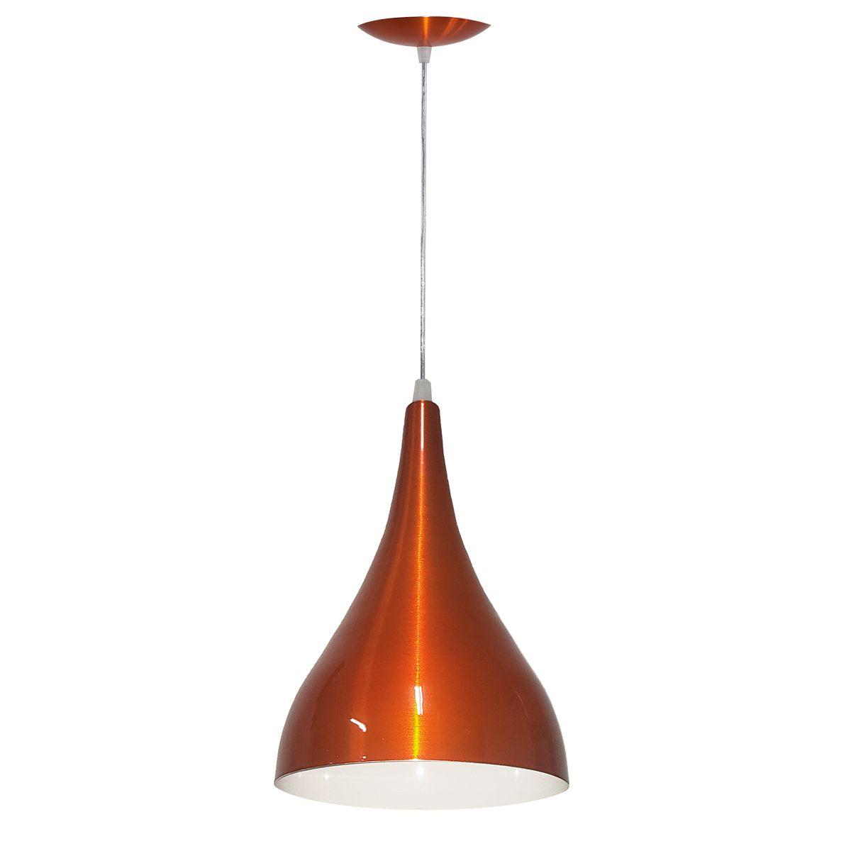 Luminária Decorativa Gota P Laranja Cobreado com Pendente