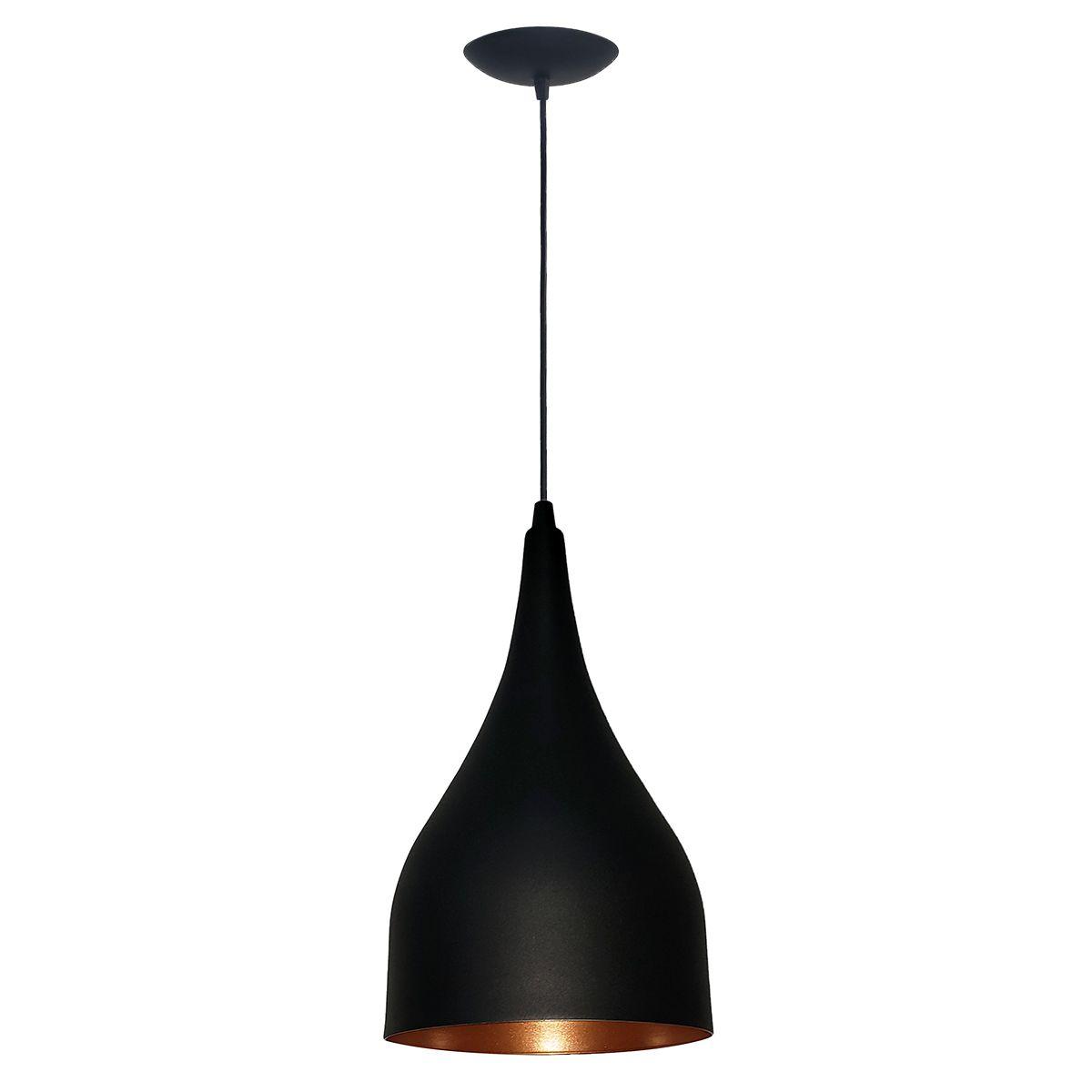 Luminária Decorativa Gota Preto/Cobre com Pendente