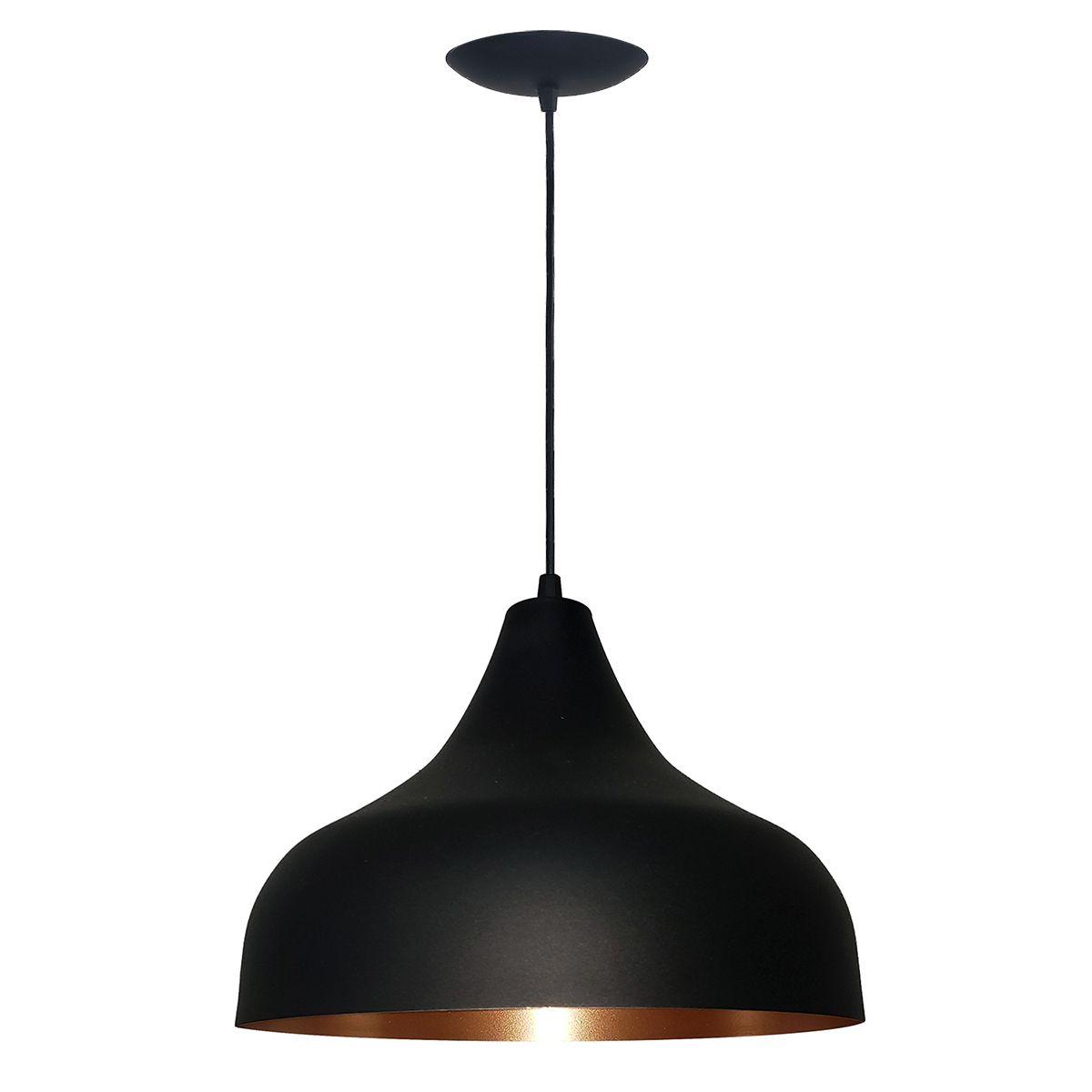 Luminária Decorativa Hera Preto/Cobre com Pendente