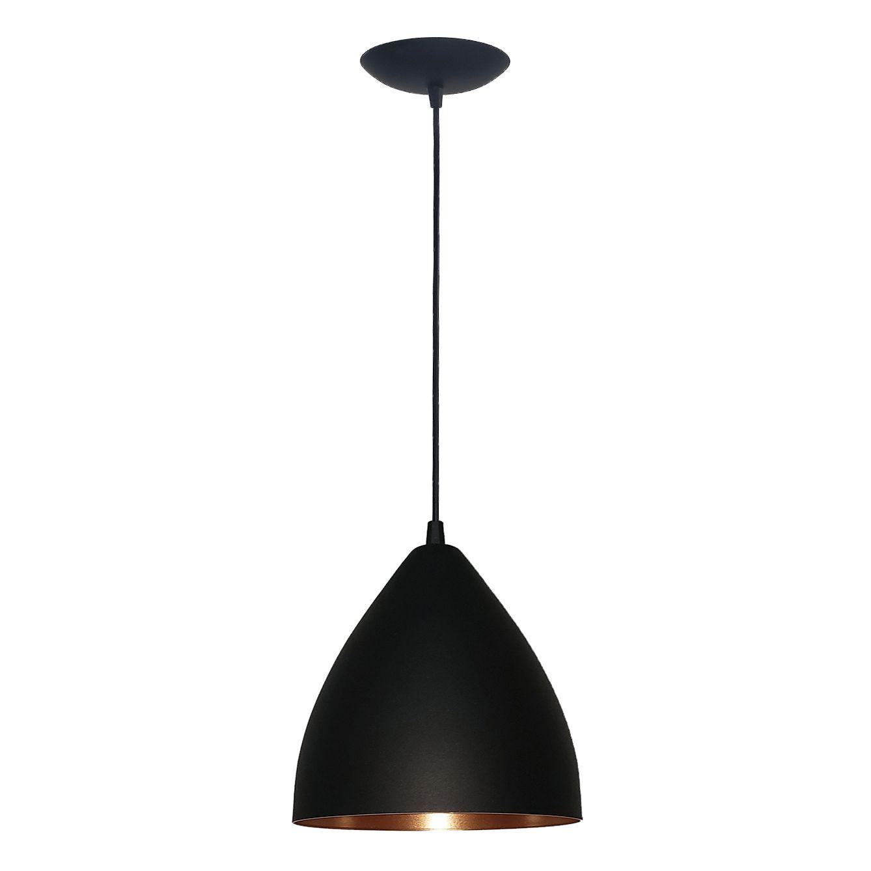 Luminária Decorativa Isis Preto/Cobre com Pendente