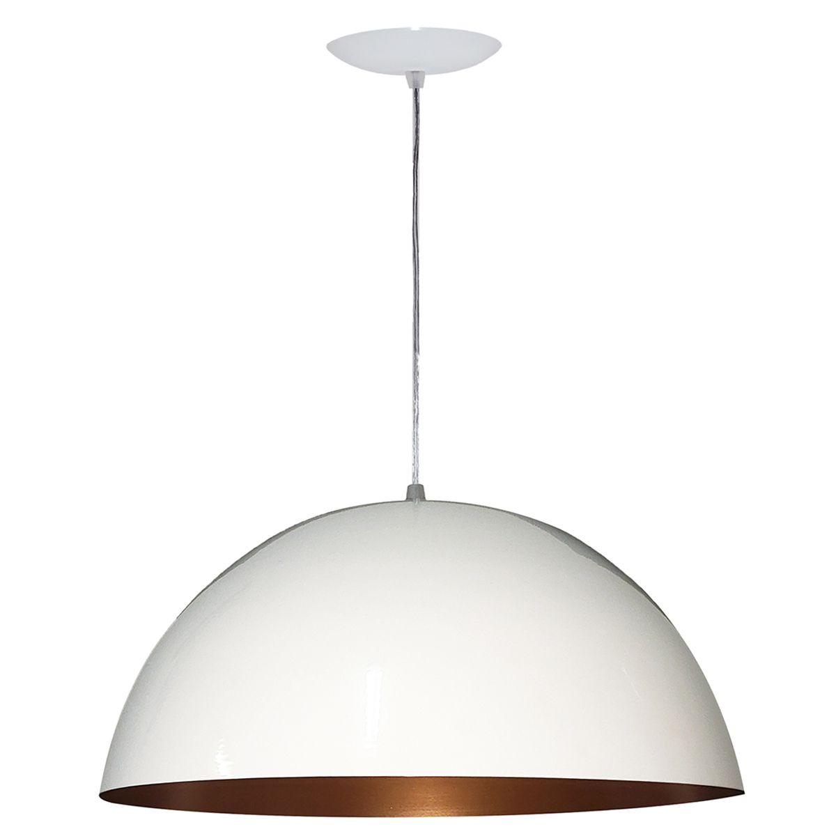 Luminária Decorativa Meia Esfera 30 Branco/Cobre Pendente