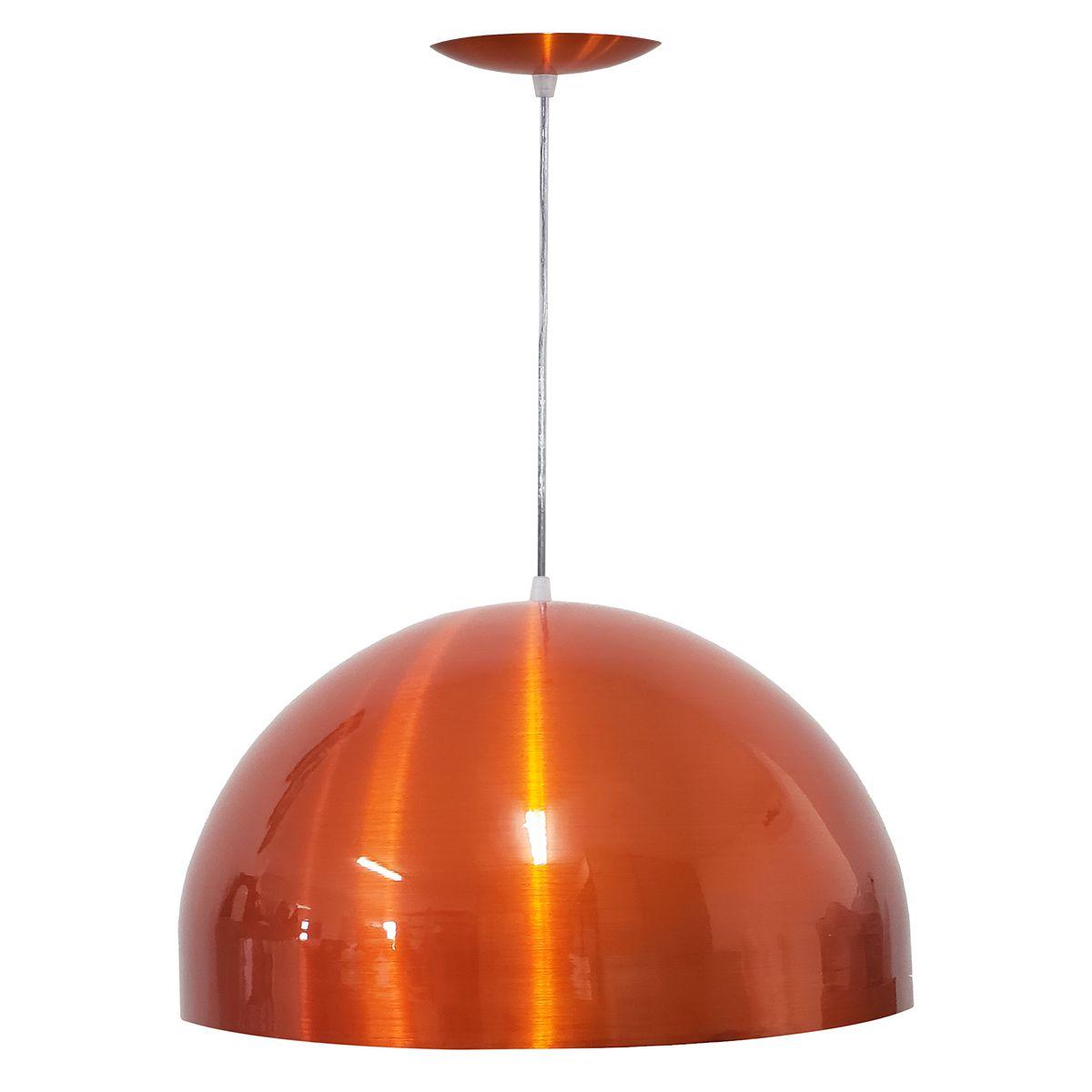 Luminária Decorativa Meia Esfera 30 Laranja Cobre Pendente