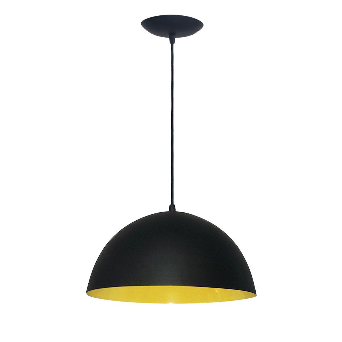 Luminária Decorativa Meia Esfera 30 Preto/Amarelo Pendente