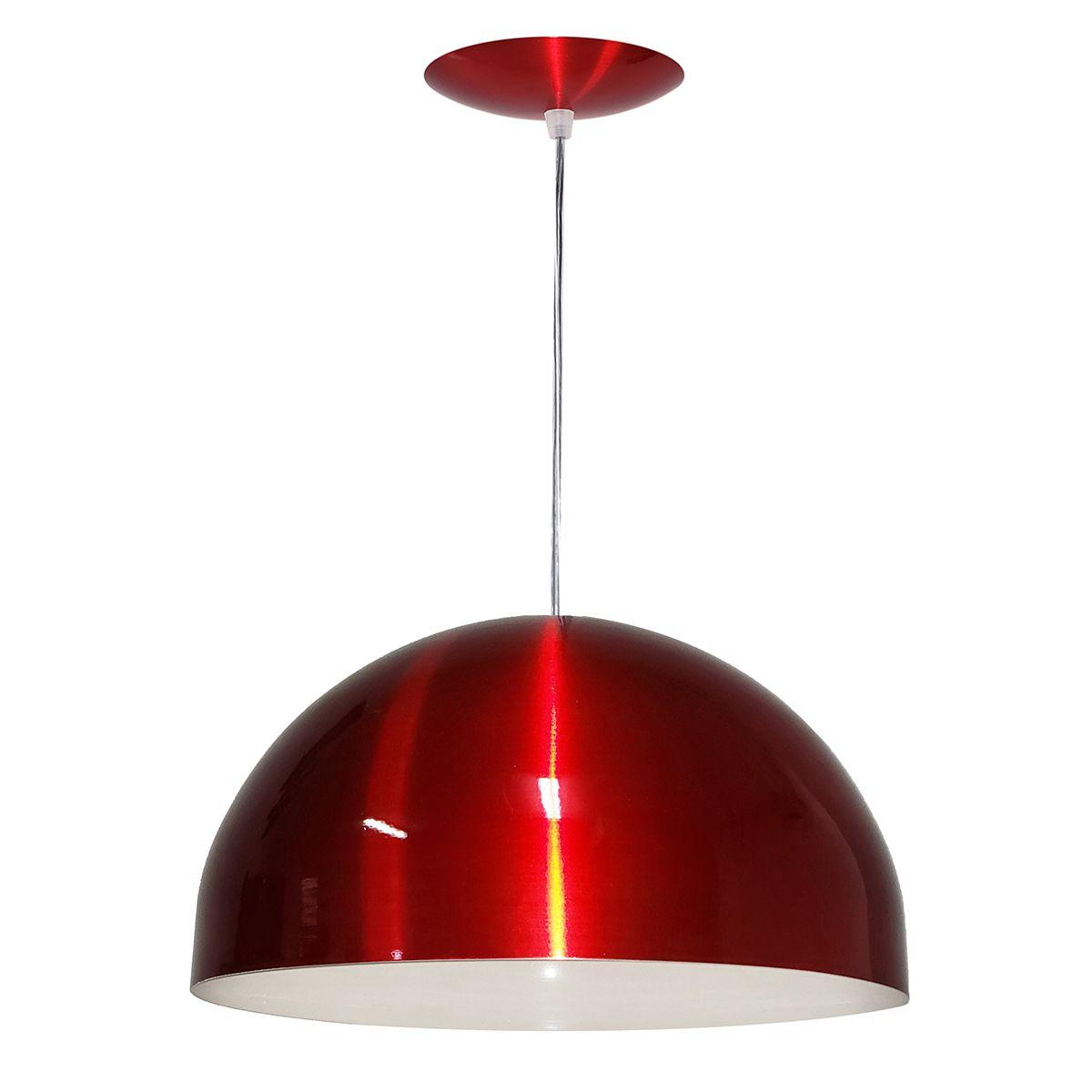 Luminária Decorativa Meia Esfera 40 Vermelho Cereja Pendente