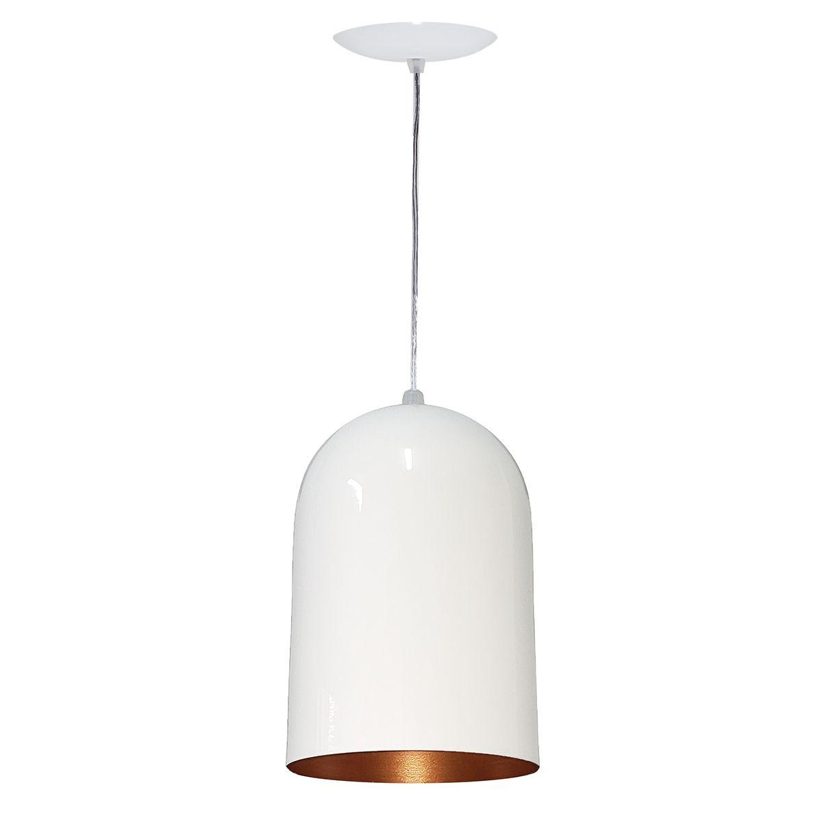 Luminária Decorativa Pandora Branco/Cobre com Pendente