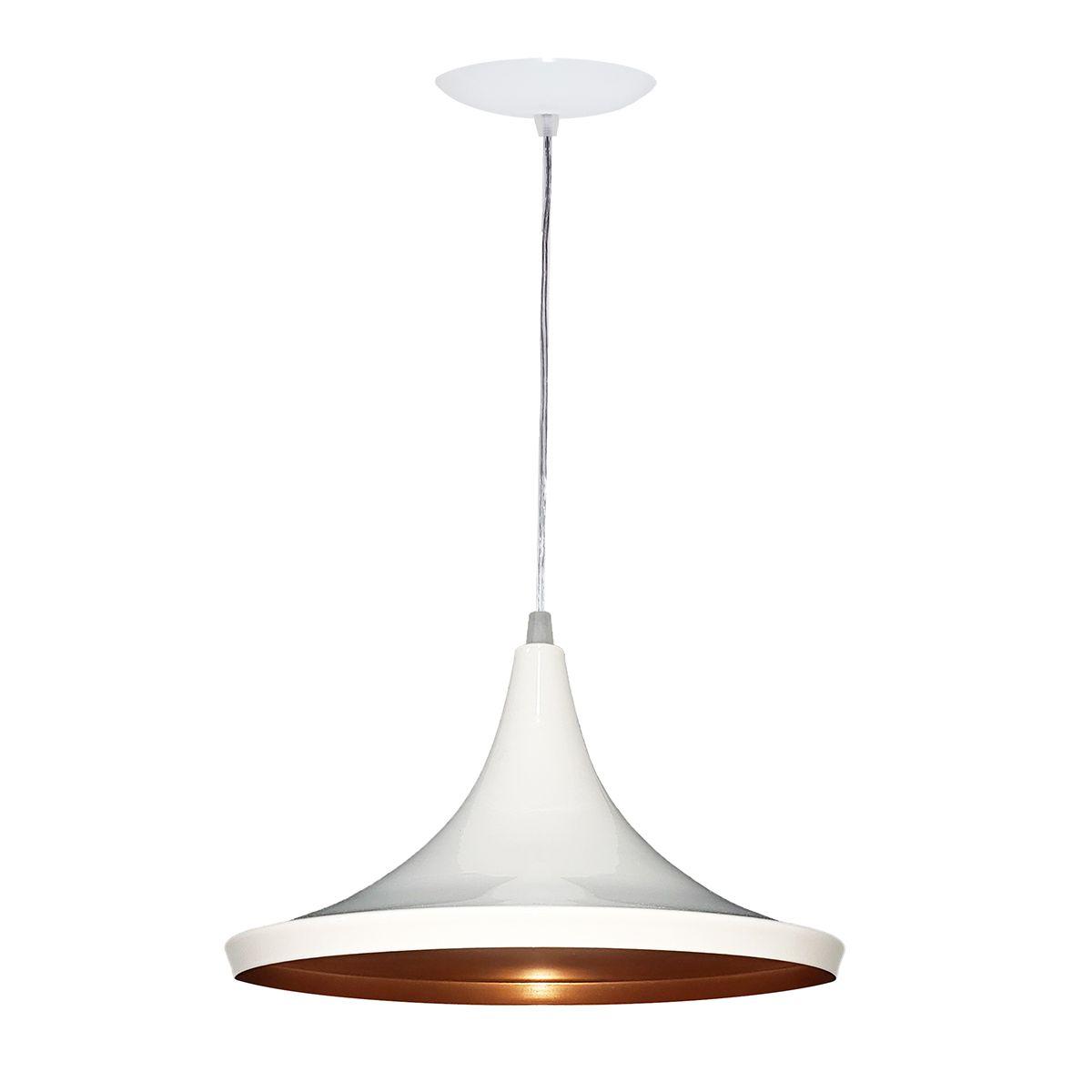 Luminária Decorativa Prato Chinês 27 Branco/Cobre Pendente