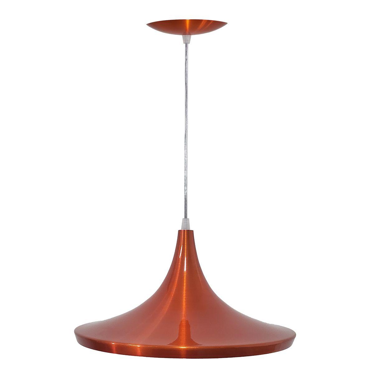 Luminária Decorativa Prato Chinês 27 Laranja Cobre Pendente