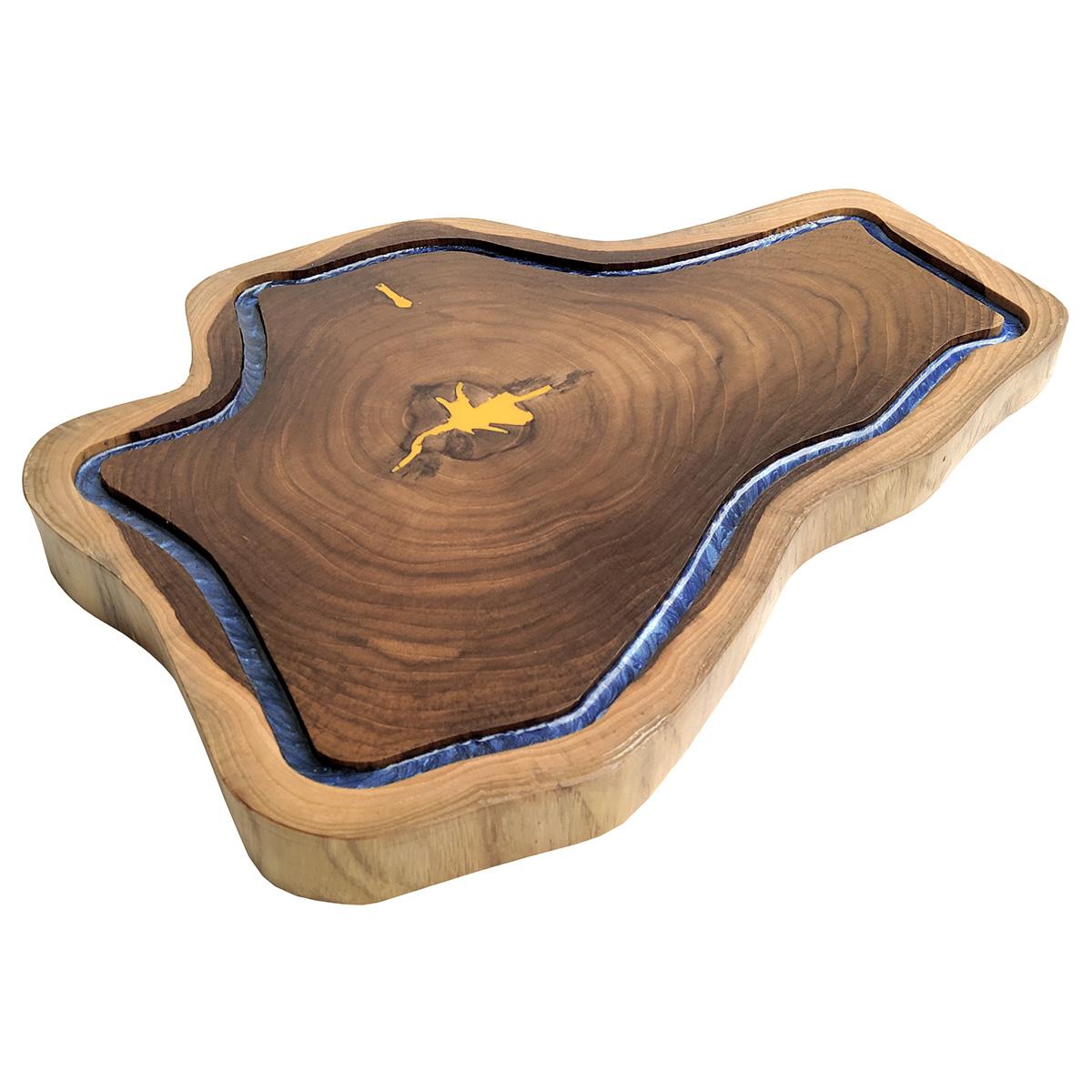Tábua de Madeira Rústica Teca 46 x 34 cm