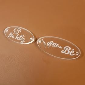 Etiqueta Acrílico Personalizada 2 X 4,5 CM - 50unid - Oval