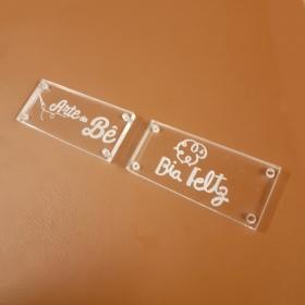 Etiqueta em  Acrílico Personalizadas 2 X 4,5 CM - 50unid