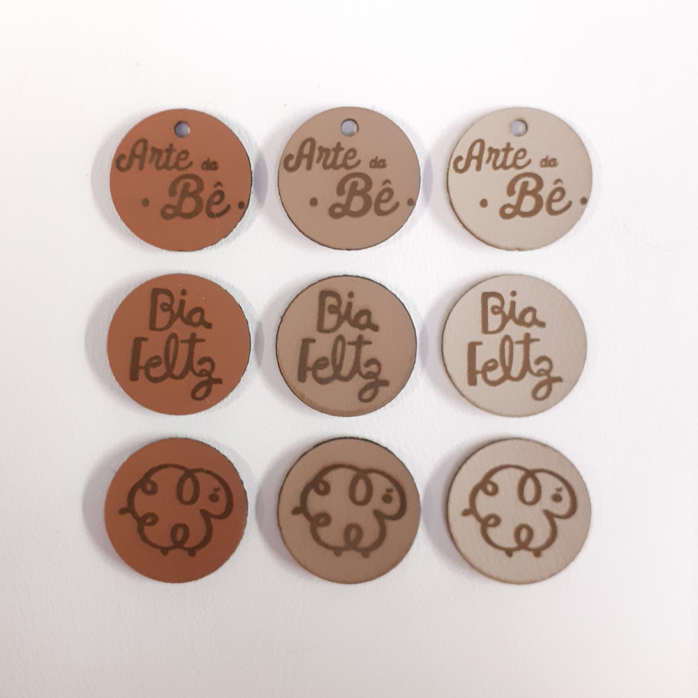 Etiqueta em Couro Sintético Personalizadas 2 X 2 CM - 50unid - Redondo