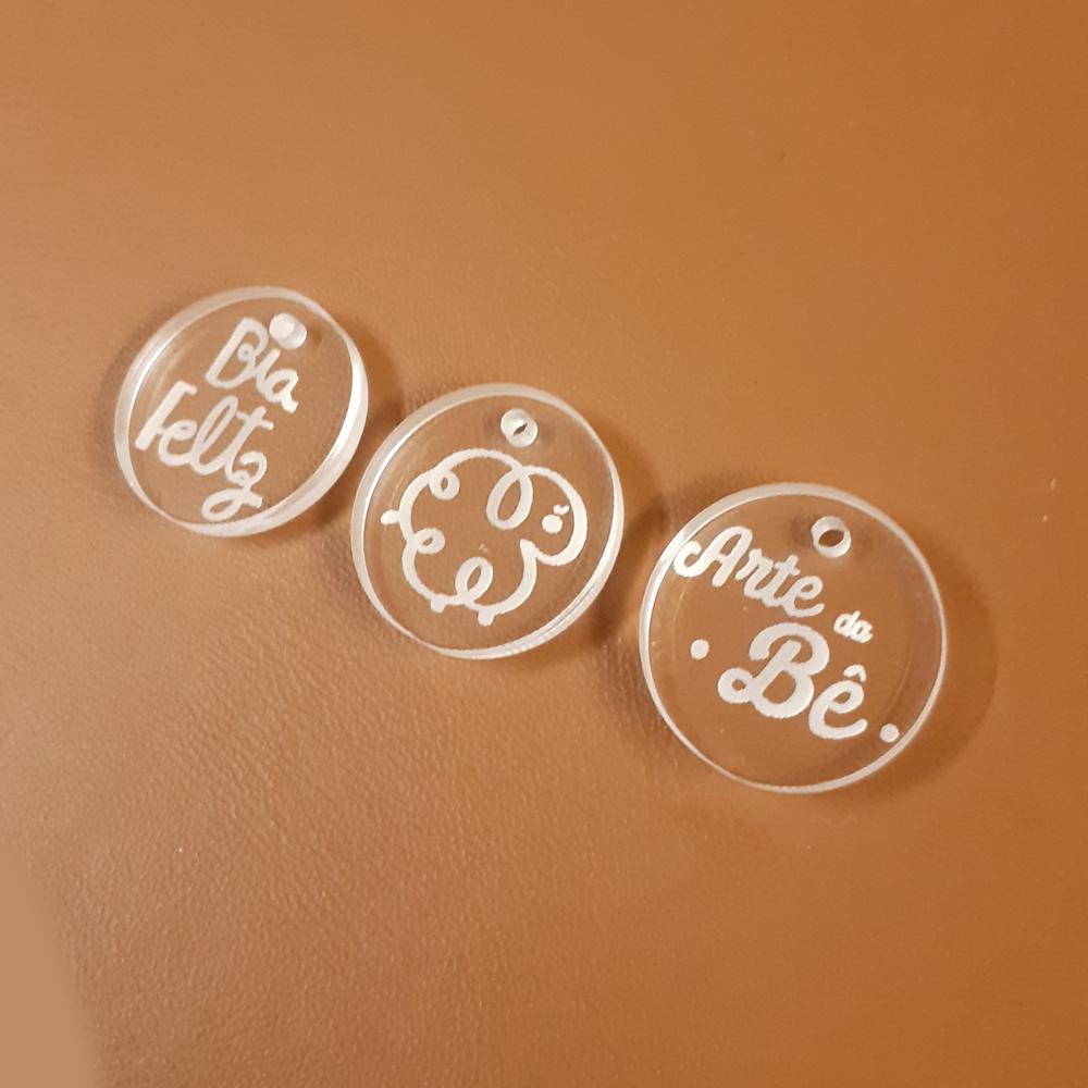Etiqueta / Ponteira Ziper em  Acrílico Personalizada 2 X 2 CM - 50unid - Redondo