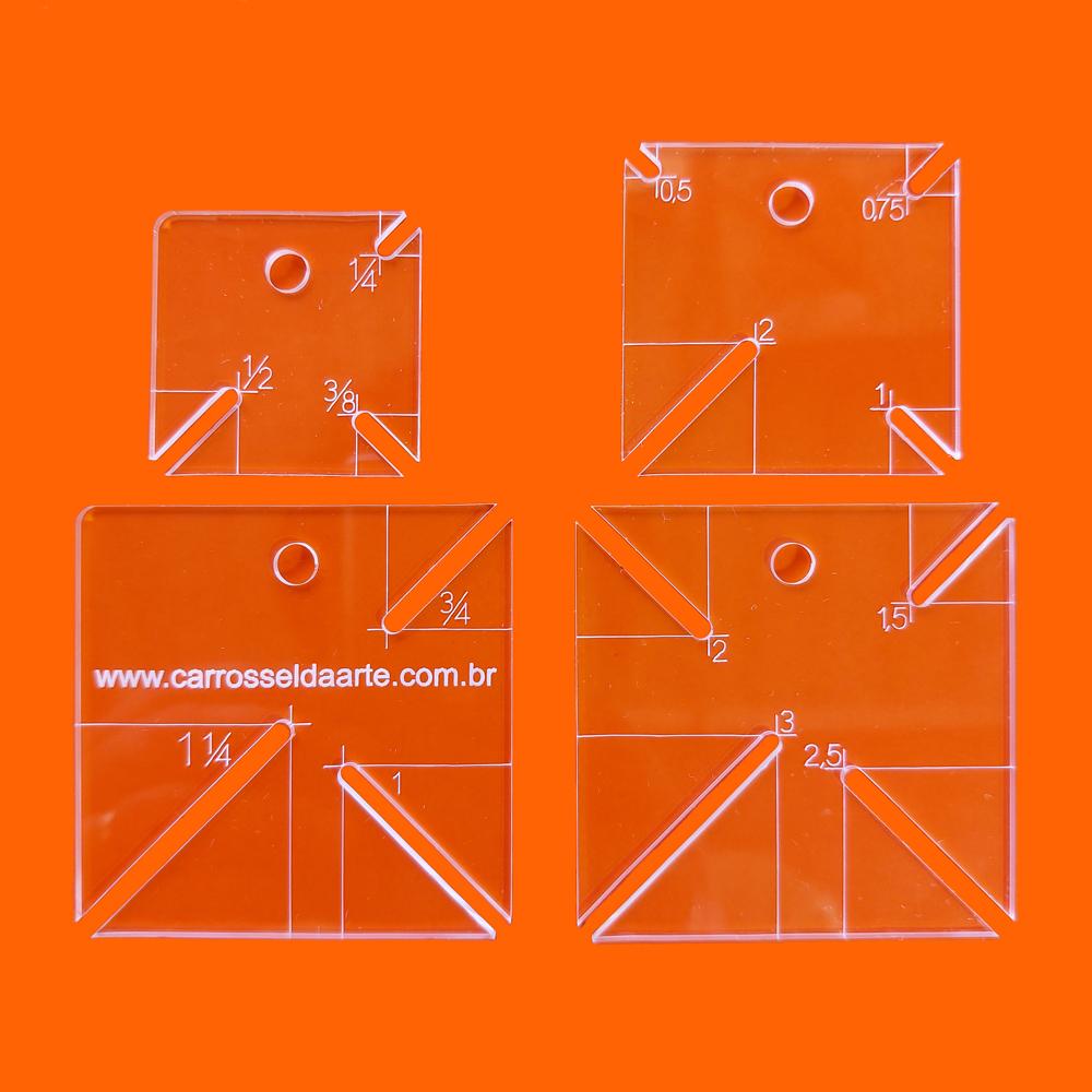 Kit 4 Régua Patchwork Canto Mitrado Cristal