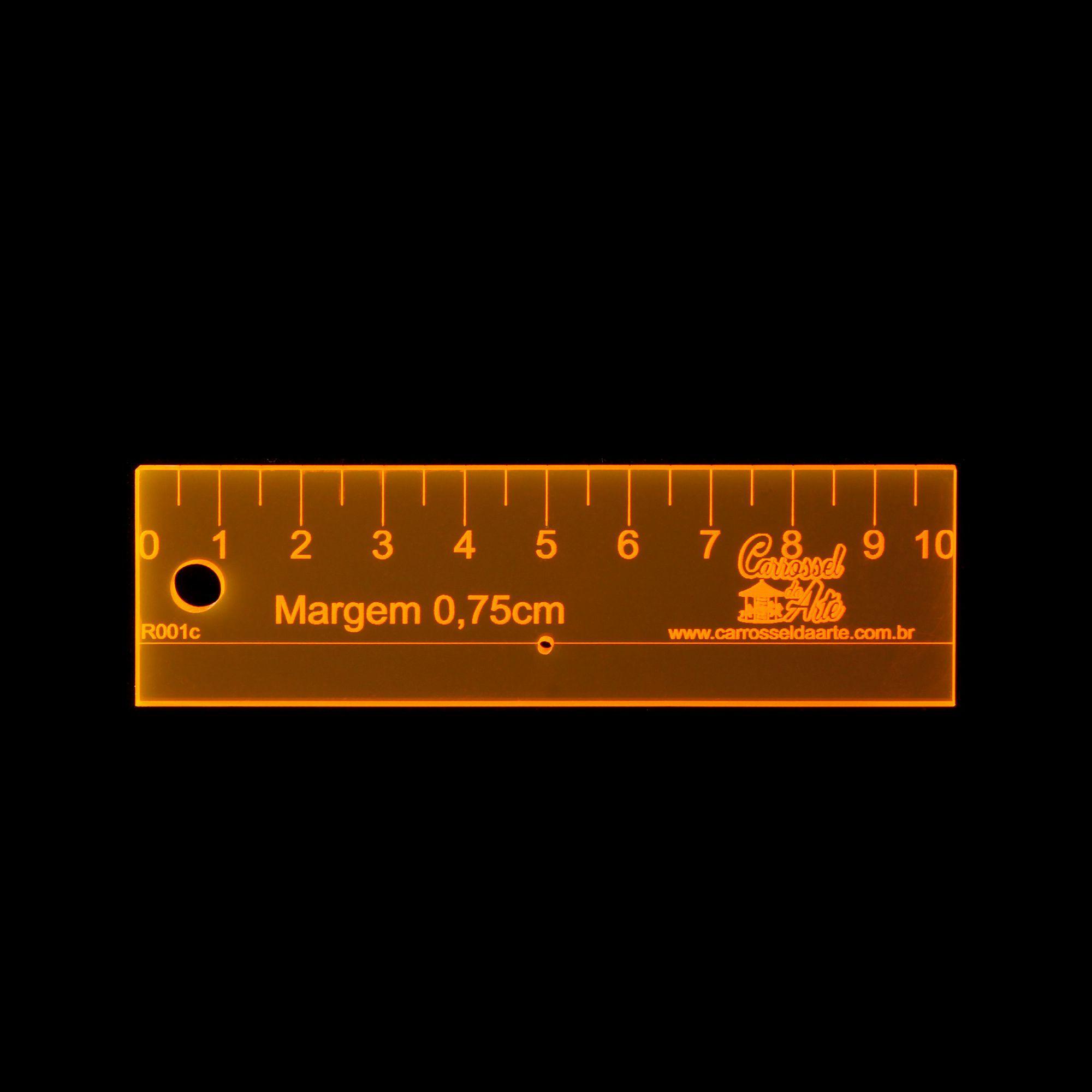 Régua Margem de Costura de 0,75cm, centímetro, com furo para agulha R001
