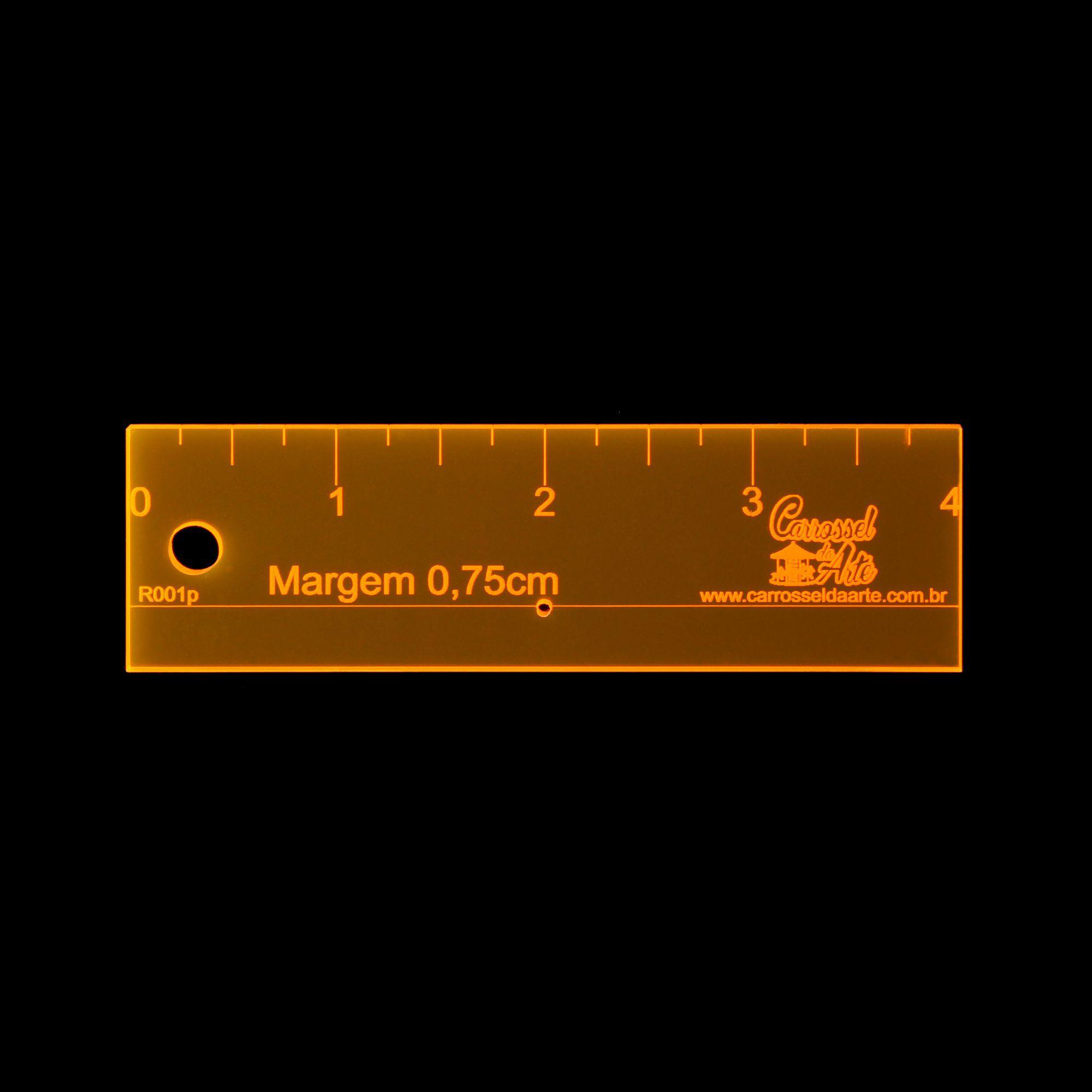 Régua Margem de Costura de 0,75cm, Polegada, com furo para agulha R001