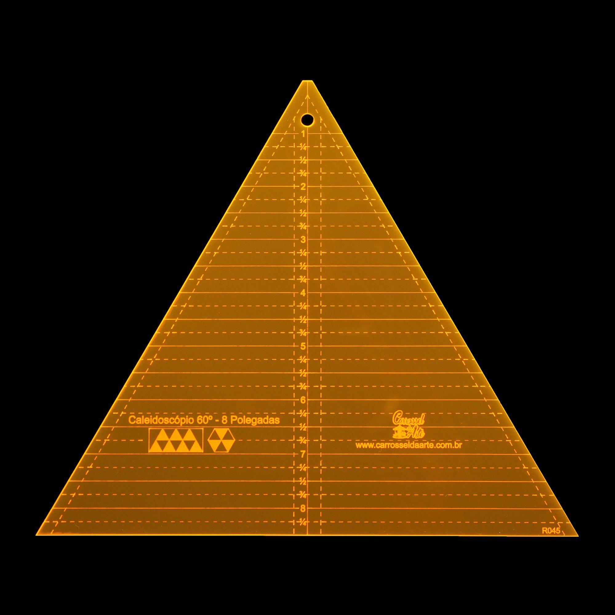 Régua para Patchwork Caleidoscópio 60° - 8 Pétalas - Polegadas