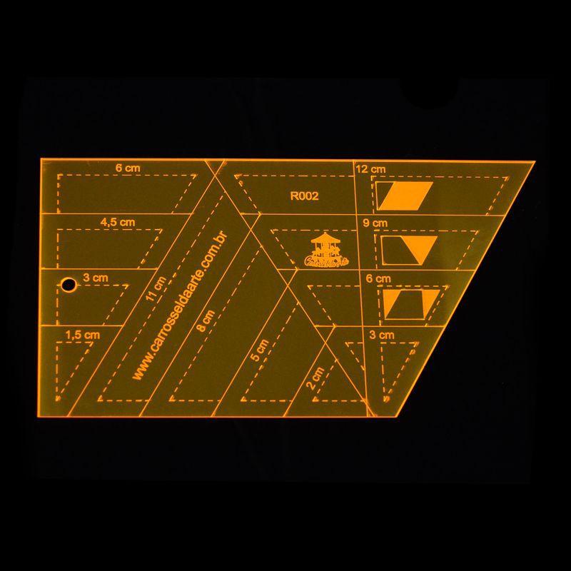 Régua para Patchwork Caleidoscópio e Estrela de 6 Pontas