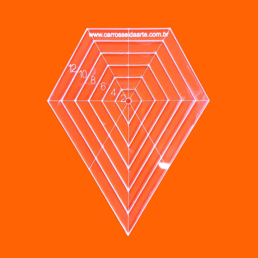 Régua Patchwork Diamante 12cm - Cristal