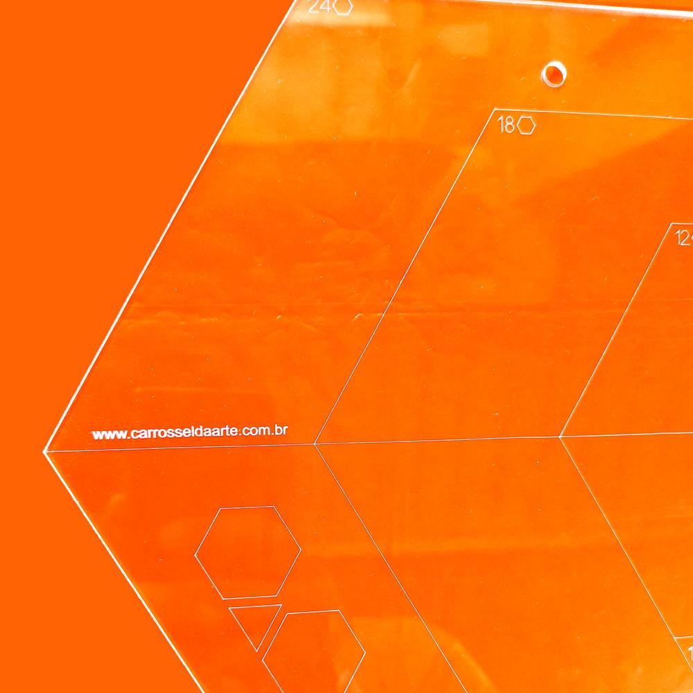 Régua Patchwork  Triangulo - Hexágono - Diamante - Cristal