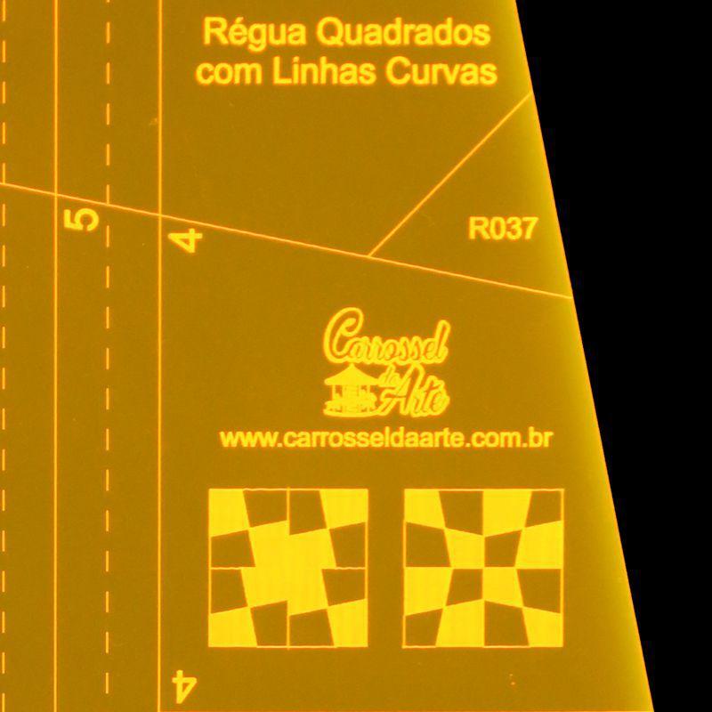 Régua Quadrados com Linhas Curvas em Polegadas
