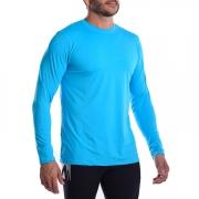 Camiseta UV Hard Adventure SolarPro Manga Longa Masculina Azul Piscina