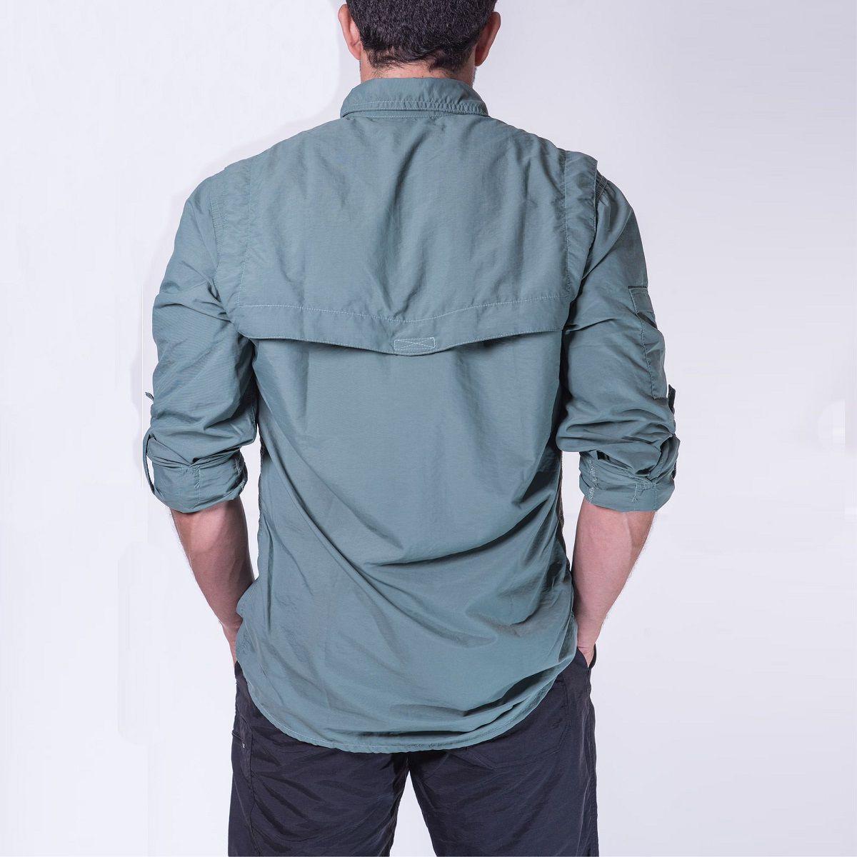 Camisa Masculina Hard Safari UV50+  Verde Claro