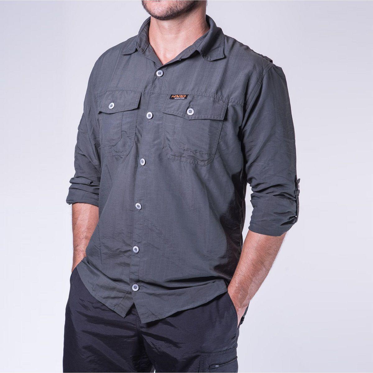 Camisa Masculina Hard Safari Tomahawk UV50+ Chumbo