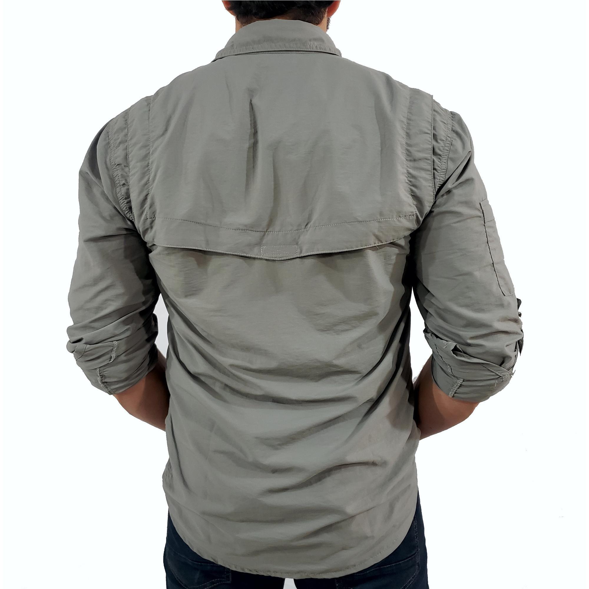 Camisa Masculina Hard Safari UV50+  Cimento -  Coleção Trekking 2020