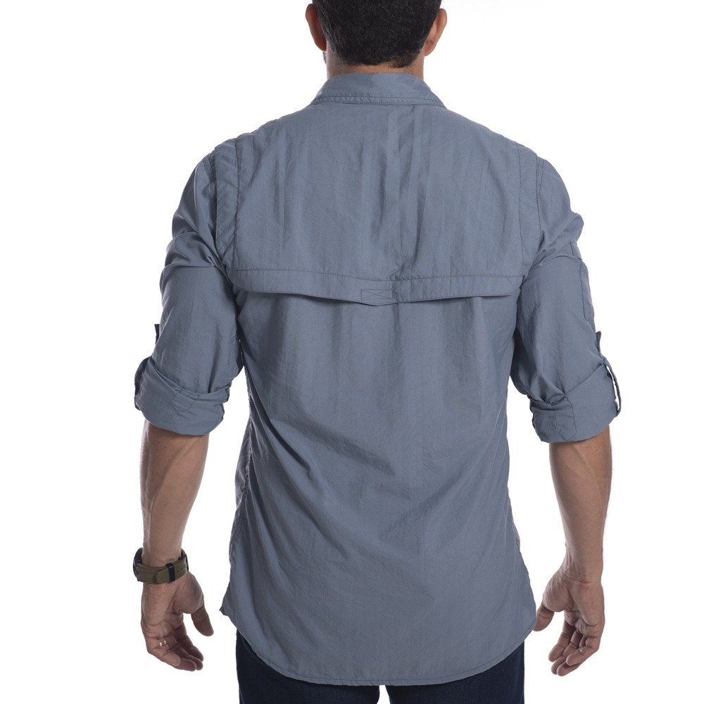 Camisa técnica Hard Safari UV50+ Cinza Azulado Hard Adventure