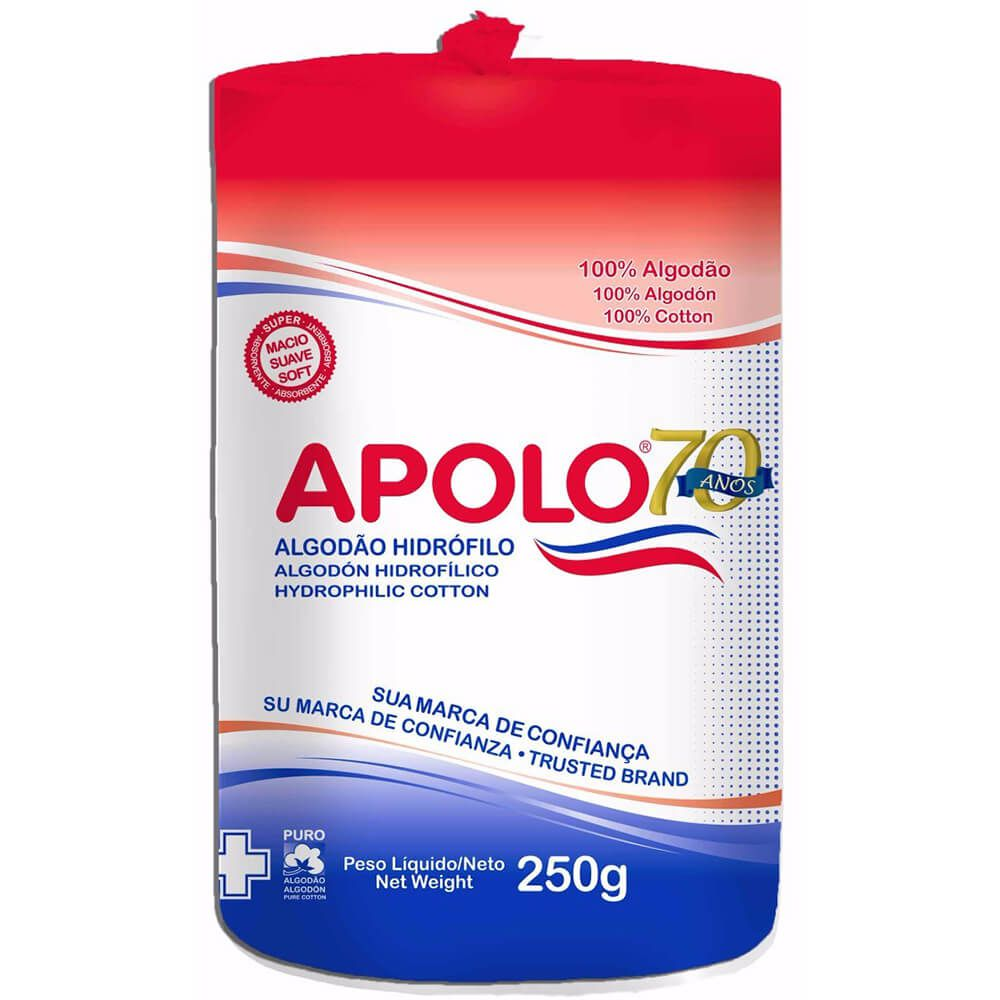 Algodão Hidrófilo em Rolo 250g - Apolo