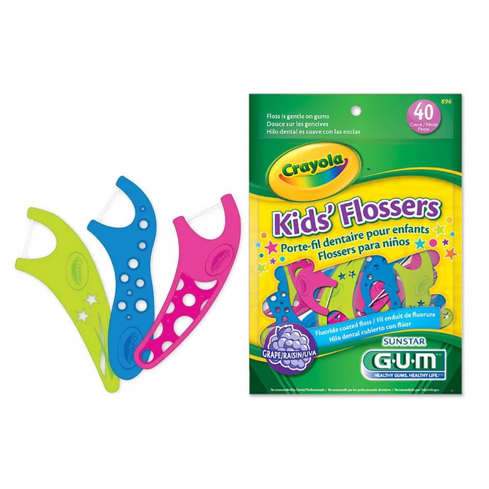 Fio Dental com Cabo Kids Flossers Crayola - Gum