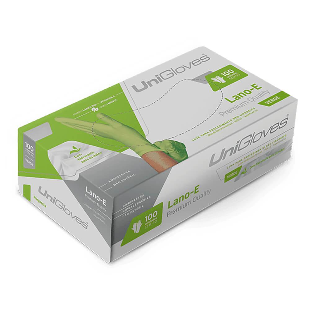 Luva de Látex p/ Procedimentos Powder Free (Sem Pó) Lano-E Green - Unigloves