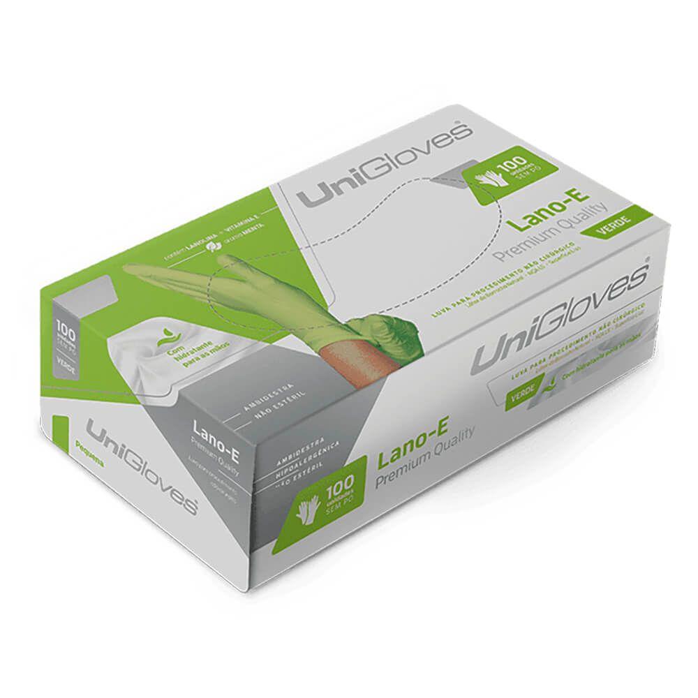 Luva de Látex para Procedimentos Powder Free (Sem Pó) Lano-E Green - Unigloves