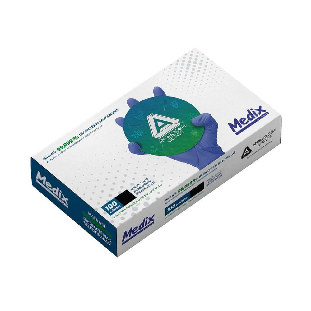 Luva de Nitrilo Antimicrobiana AMG Powder Free (Sem Pó) Azul Violeta - Medix