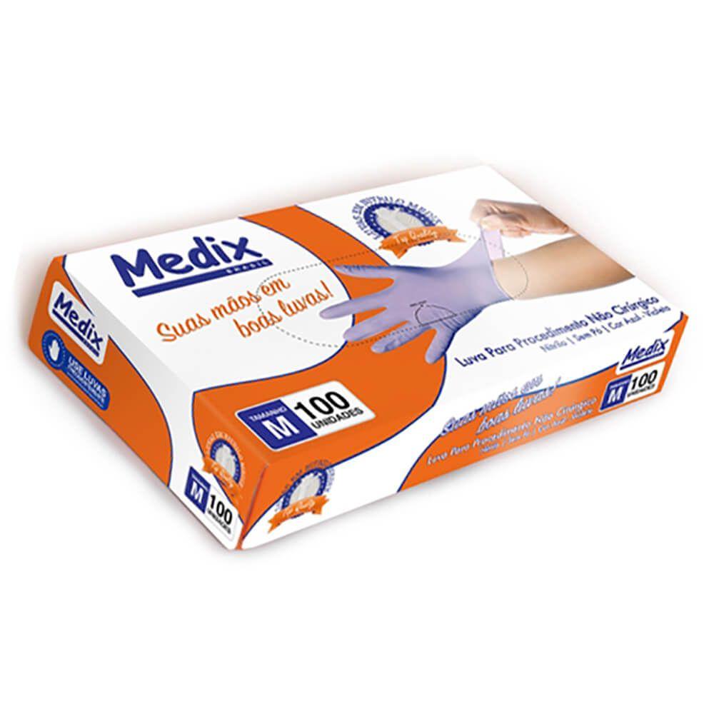 Luva de Nitrilo para Procedimentos Powder Free (Sem Pó) Azul-Violeta - Medix