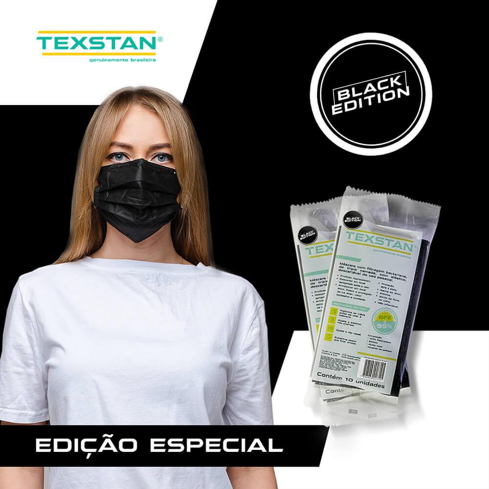 Máscara Tripla com Elástico Preta - Texstan