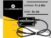 AU 01 - Conversor DC/DC 12V - 24v - 36v para 5V-3A com conector P4 macho 5,5x2,1mm