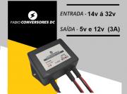 AU 04(24) - Conversor DC/DC entrada  24v (14 á  32v)  e saídas  12V-1,5A  e   5V-1,5A
